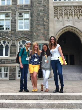 Me and my favorites from the trip: Monica, (me), Savannah, and Alicia. We're in front of Keating Hall at Fordham